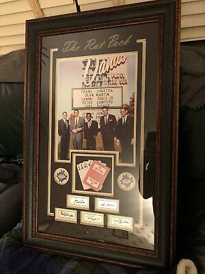 Framed The Rat Pack Sands 11x14 Photo Cards Chips Las Vegas Laser Engraved Autos