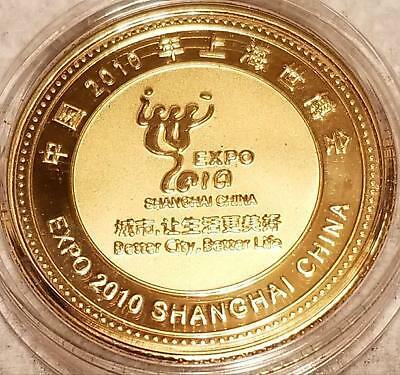 2010 SHANGHAI CHINA EXPO GOLDEN MEDAL TOKEN in English Chinese Mint Uncirculated