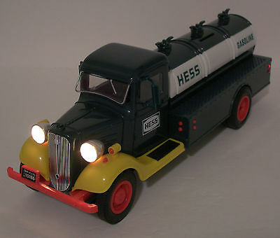 Vintage 1985 First Hess Truck Toy Bank with lights-In MINT Condition-NIB