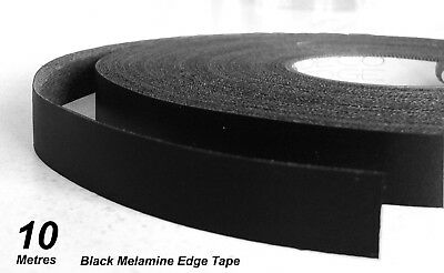 Black Melamine Edge Tape 21mm x 10m Pre-Glued Iron On Veneer Edging Laminate