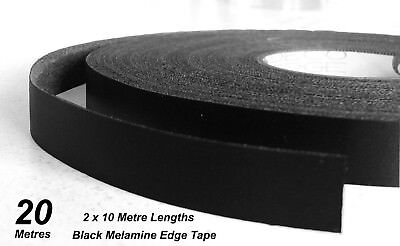 Black Melamine Edge Tape 21mm x 20m Pre-Glued Iron On Veneer Edging Laminate