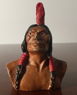 Vintage Original Native American Indian Bust - The National Shawmut Bank 1947