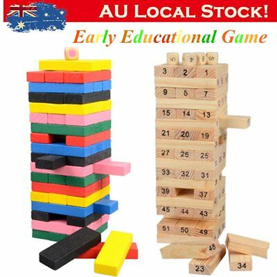 54pcs Wooden Stacking Tumbling Tower Building Blocks Children Kid Toys Game CO