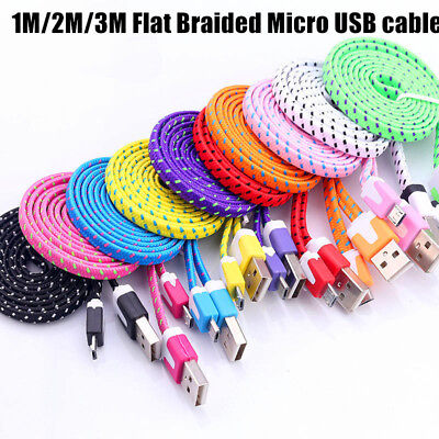1M 2M 3M Flat Braided Fabric Micro USB Charger Cable For Android sumsung HTC MOB