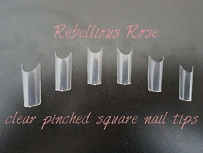 pre pinched clear square nail tips acrylic gel nail art