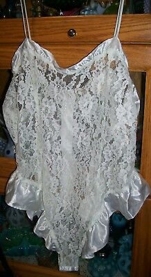 Vintage Victorias Secret See Thu Lace And Satin Teddy Ivory Large L Hi Cut Thigh