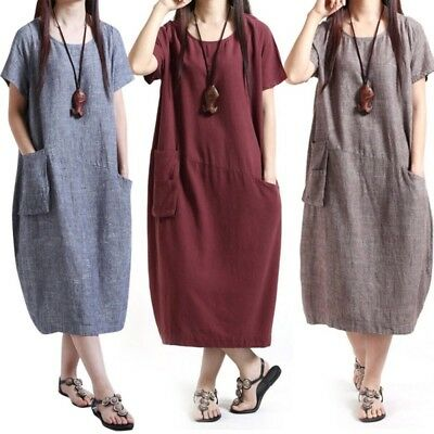 Cotton Linen Women's Loose Maternity Dress Pregnancy Pregnant Clothing Clothes