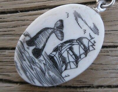 Vintage Oval SCRIMSHAW Pendant or Charm on High SEAS w/WHALE TAIL & SHIP VESSEL