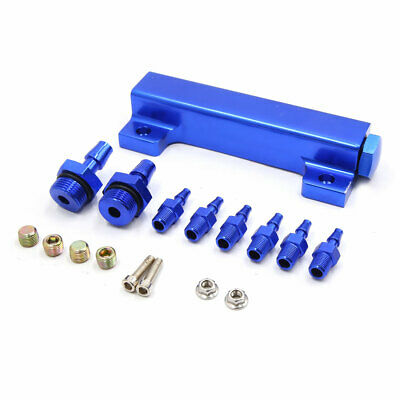 Motorcycle Air Pneumatic Blue Aluminum Alloy Adjustable 6 Ways Oil Distributor