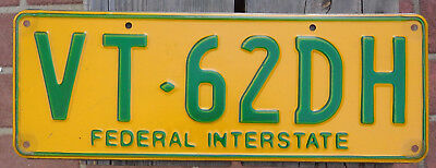 License Plate Number Plate VIC  Federal Interstate Trailer Steel  VT 62DH