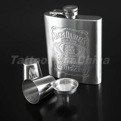 Portable Liquor Hip Flask Whiskey Alcohol Wine Flagon Bottle & Funnel & Cup Kit
