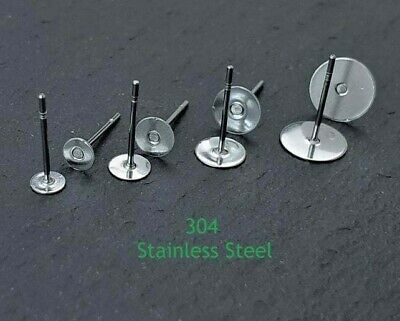 304 Stainless Steel Ear Earring Posts Studs 4mm 5mm 6mm 8mm Cabochon Pad CS106