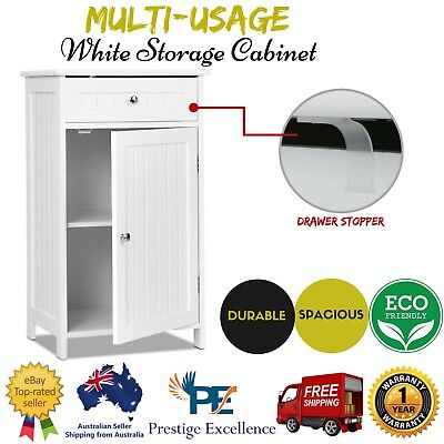 White Storage Cabinet Small Single Door Cupboard Shelf Drawer Bathroom Laundry