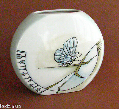 Retro Oval Butterfly Vase Denmark 1988 off white and pale blue 16 cm - 6 1/4""