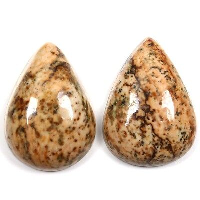 16.50 Cts Real PICTURE JASPER Designer Gemstone 1 Pair PEAR 18x13 mm S-6683