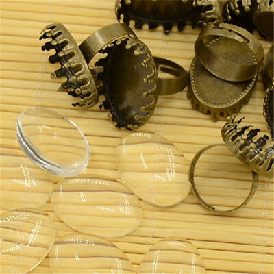 10 Sets Antique Bronze Brass Oval Cup Ring Blanks Adjustable & 25x18mm Covers