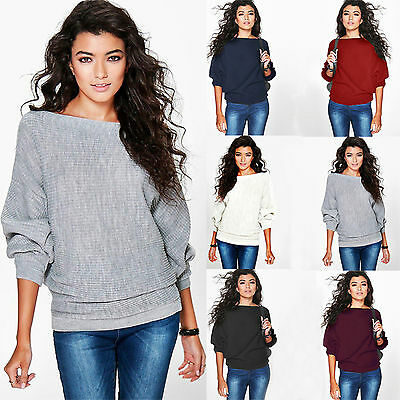 AU Women's Batwing Knit Sweater Long Sleeve Oversized Loose Jumper Pullover Tops