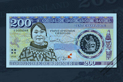 200 kroner Greenland/essay uncirculated banknote design 2018