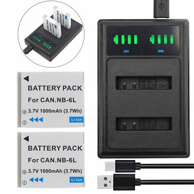 2XBattery+Dual usb Charger For Canon NB-6L NB-6LH PowerShot SX700 HS SX600 SX510