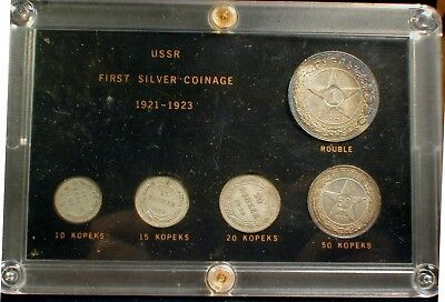 Russia - USSR First Silver Coinage 1921-1923  UNC Toned Rouble & 50 Kopeks
