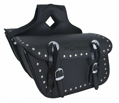 Borsa Bisacce Moto Customo Chopper Borchie Cromate Nero Saddle Bags