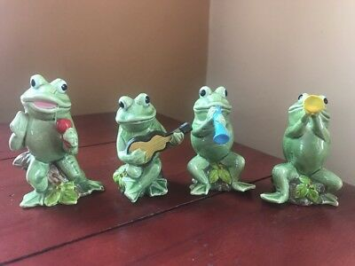 1970's Vintage Lot of 4 Glazed Ceramic Green Frog Music Band Figurines