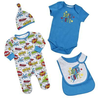 Baby Boys Sleepsuit Caped Bib Cradle Cap Vest Four Piece Set Newborn to 9-12m
