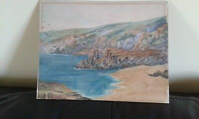 Watercolour original painting of Coastal scene, possibly West Country.