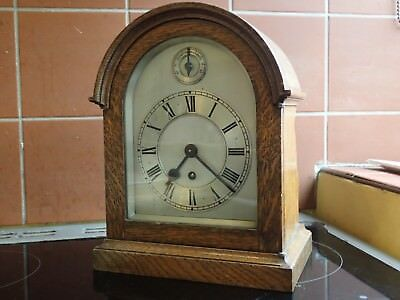 Solid Oak Cased Antique English Mantle Clock (untested Condition)