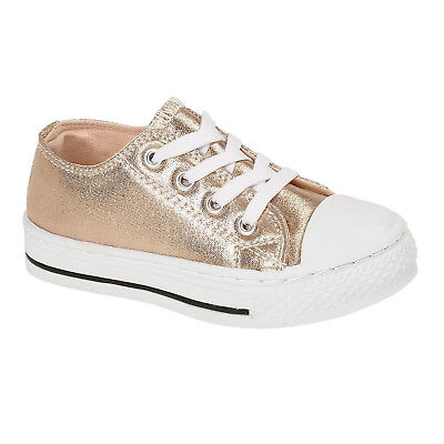 Infant Girls Rose Pink Metallic Lace Up Casual Trainer Pumps Plimsoles Baltimore