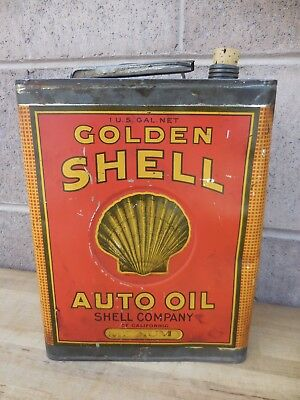 Early Golden Shell Oil Can 1 Gallon