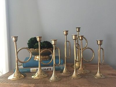 Lot of 8 VTG Brass Candlesticks Holders Horn Trumpet Wedding Decor Centerpiece