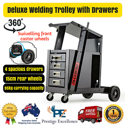 Rossi Deluxe Welding Trolley with Lockable Drawers Spacious Storage Welder Cart
