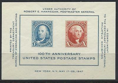 USA 1947 FIRST STAMPS CENTENARY Int Exhibition Miniature Sheet Unh Mint SG MS945