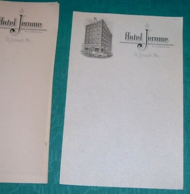 Vintage Lot 10 Sheets Stationary / Paper Hotel Jerome St. Joseph Mo.