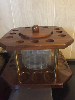 Decatur? Twelve 12 Pipe Wooden Rack Stand Display Glass Humidor With Lid Walnut