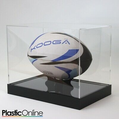 Rugby Ball Display Case Signed Rugby Ball Riser Stand Horizontal - MORE COLOURS