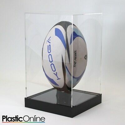 Rugby Ball Display Case Signed Rugby Ball Riser Stand Vertical - MORE COLOURS