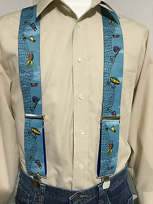 "New, Men's, Lures on Blue, XL, 2"" Adj.  Suspenders / Braces, Made in the USA"