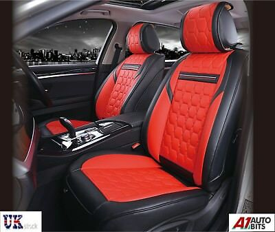 High-Quality Deluxe Red PU Leather Front Car Seat Covers Padded Diamond Look
