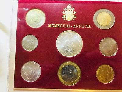 Vatican 1998 Uncirculated Mint Set 8 Coins with 1 Silver