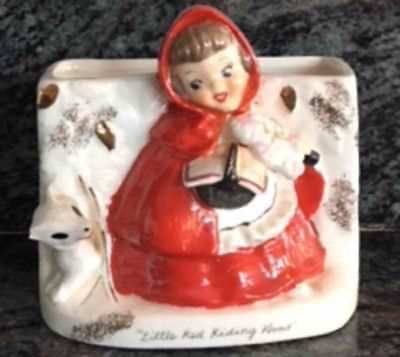 1950's NAPCO LITTLE RED RIDING HOOD/WOLF PLANTER OR LETTER HOLDER -JAPAN