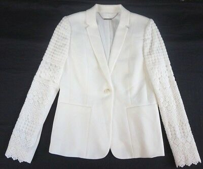 NWT Elie Tahari Women's White Tova One-Button Blazer Suit Jacket 4