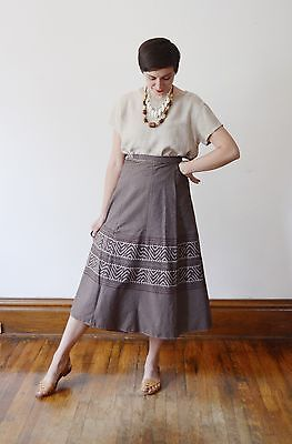 70s brown cotton wrap skirt