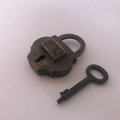 Old antique solid brass padlock lock with key RARE shape SMALL MINIATURE U S A