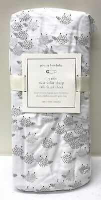 NEW Pottery Barn KIDS Organic Watercolor Sheep Fitted OVAL Crib Sheet, GRAY