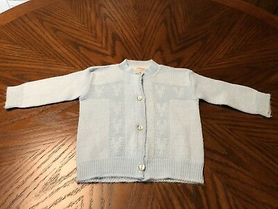Vintage Baby Clothes - Sweater Cardigan Blue 6-12 Mths 50's 60's