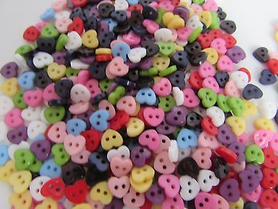 Mini Heart Shaped Buttons 6mm Asst Packs of 10 25 50 100 for Dolls Clothes