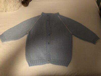 Vintage Baby Clothes - Sweater Cardigan Blue 12-18 Mths 50's 60's
