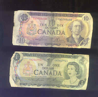 2 Vintage 1971 & 1973 Bank Of Canada Ten 10 Dollars and One 1 Dollar Bank Notes